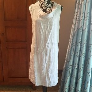 493b6502f19 Lina Tomei NWOT linen pale blue cowl-neck dress